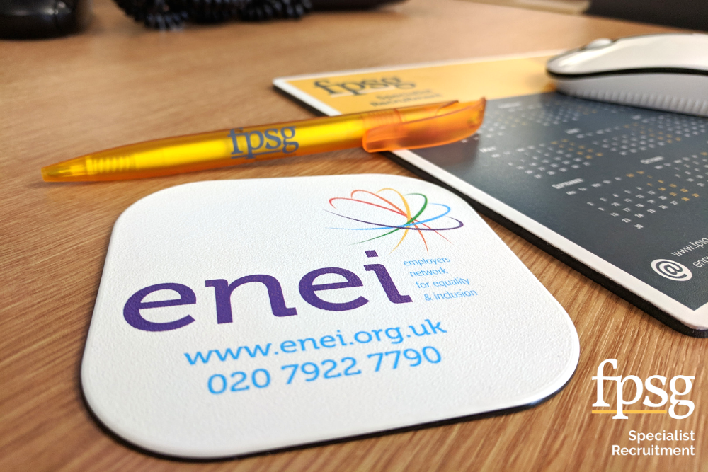ENEI coaster with fpsg mouse mat and pen logo